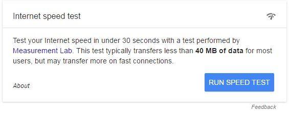 internet speed test google suche