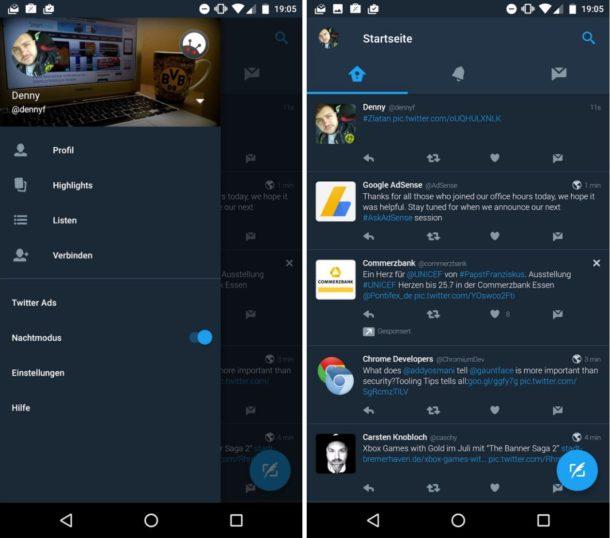 Twitter App Nachtmodus