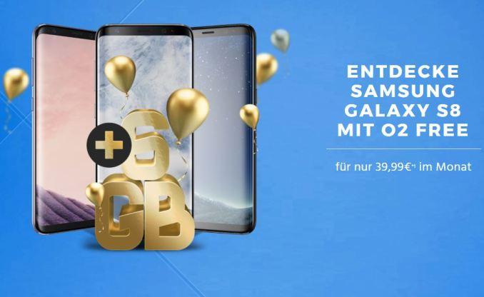 Samsung Galaxy S8 o2 Free Handyflash Deal