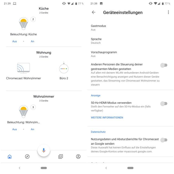 Google Chromecast Einstellungen ab 2018