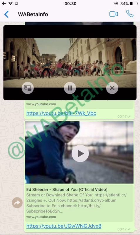 WhatsApp floating YouTube