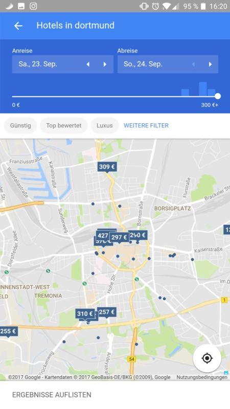 Google Hotel Preiskarte