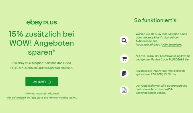 eBay Plus Gutschein 15 %
