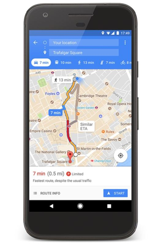 Google Maps Parkplatz-Situation Screenshot