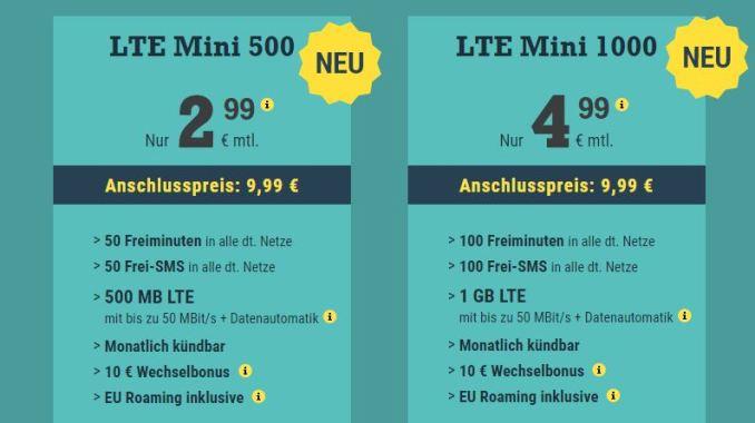 McSIM LTE Mini 500 und 1000