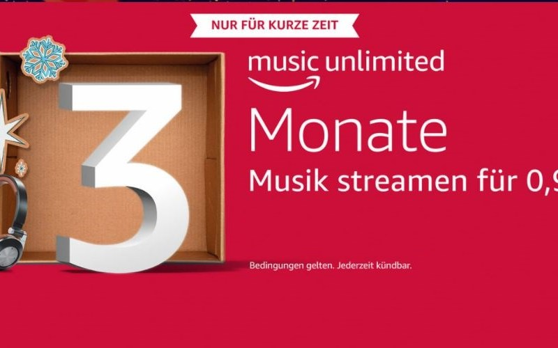 Amazon Music Unlimited 3 Monate 99 Cent Weihnachten