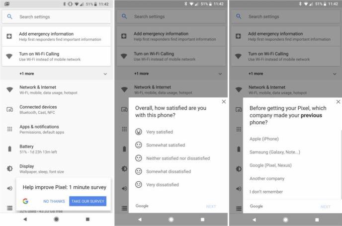 Google Pixel 2 Umfrage Systemeinstellungen