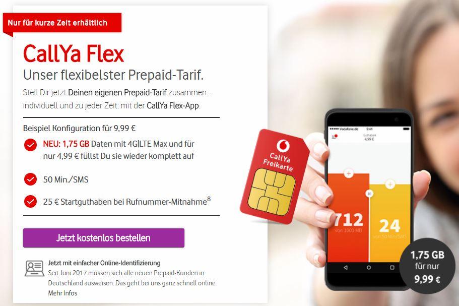Vodafone CallYa Flex 1,75 Gigabyte Datenvolumen