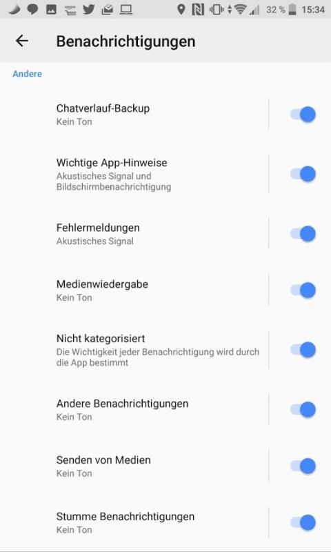 WhatsApp Benachrichtigungs-Kategorien