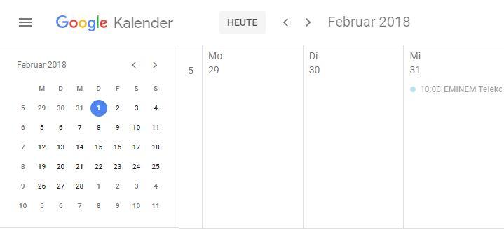 Google Kalender Kalenderwoche