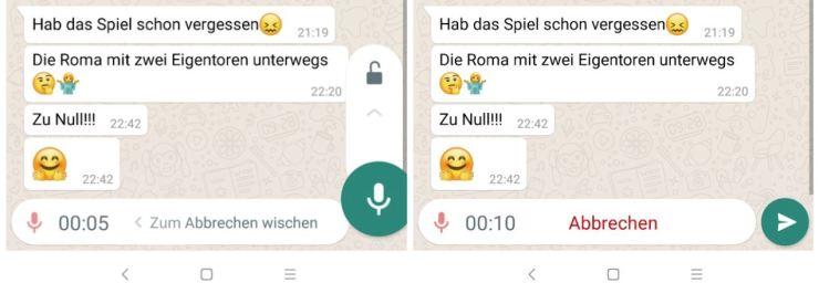WhatsApp Sprachnachrichten freihändig