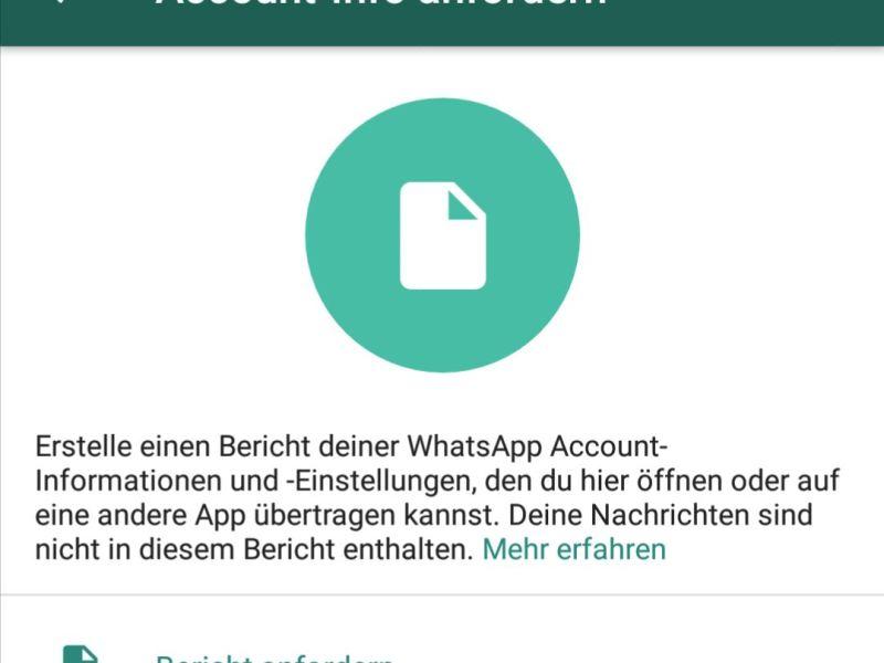 WhatsApp Account-Info anfordern