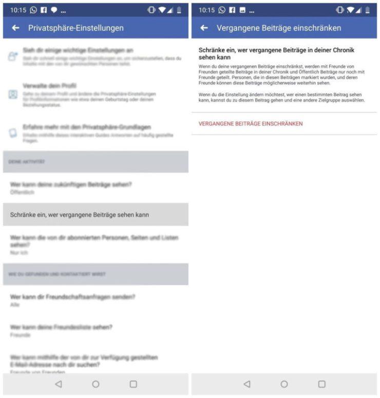Facebook vergangene Beiträge einschränken