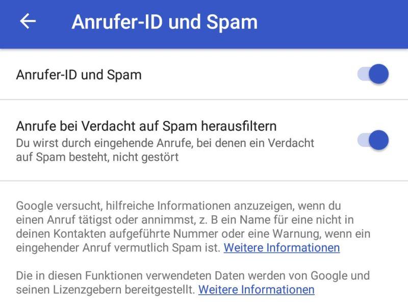 Google Telefon-App Spam Filter