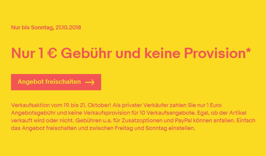 eBay 1 Euro gebühr Oktober 2018