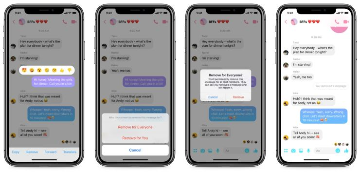 Facebook Messenger Löschfunktion Unsend
