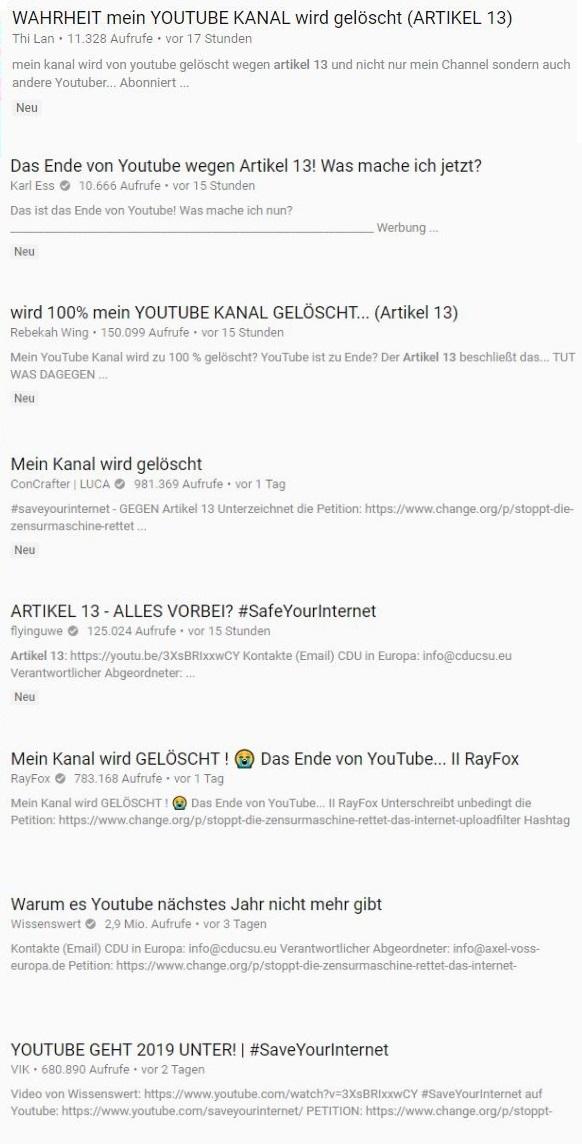 YouTube Artikel 13 Headlines