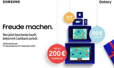 Samsung Cashback Nov bis Dez 2018
