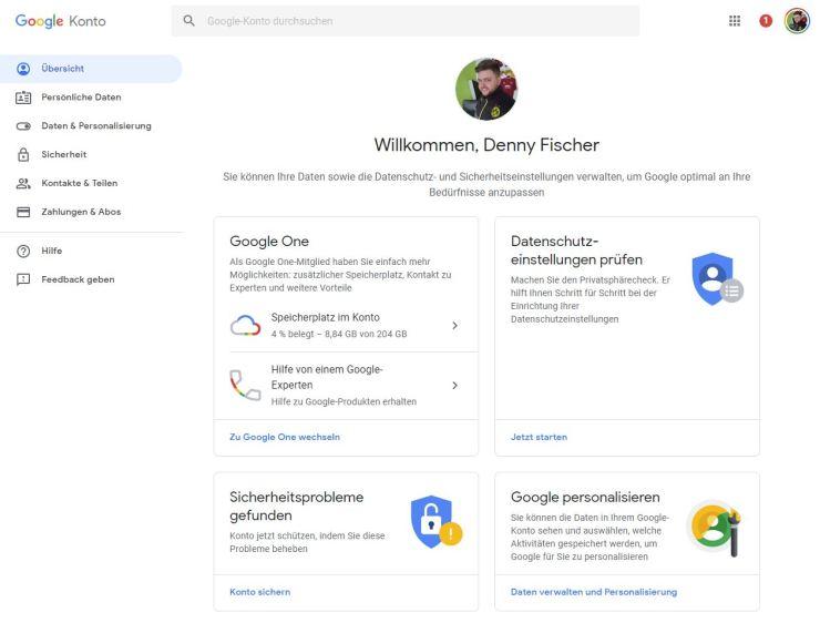 Google-Konto Dezember 2018