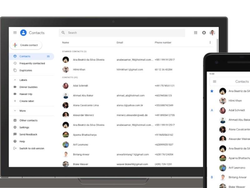 Google Kontakte Header