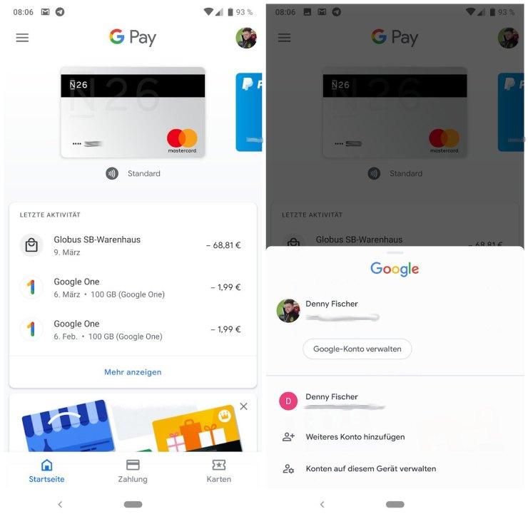 Google Pay Konto-Umschalter