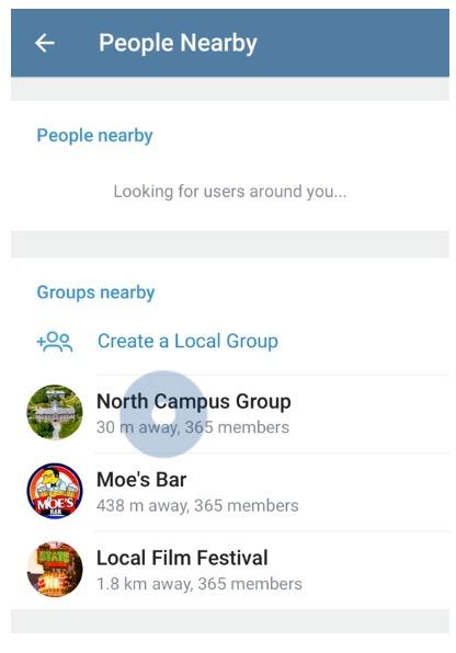 Telegram Gruppen in der Nähe Screenshot