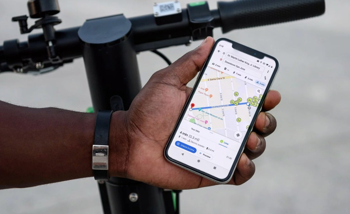 Google Maps Lime E-Scooter