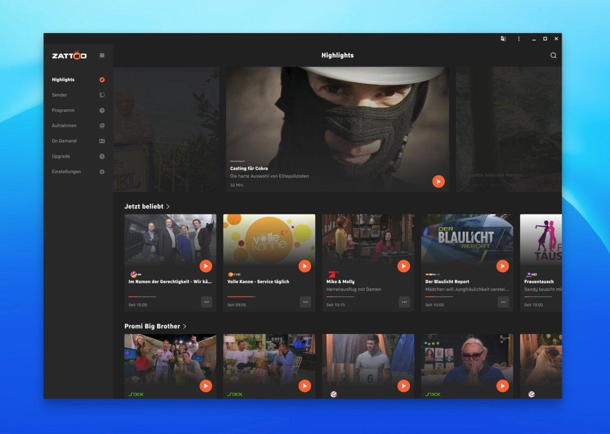 Zattoo Web App Header