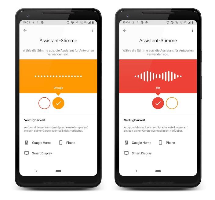 Google Assistant Stimmen Screenshots