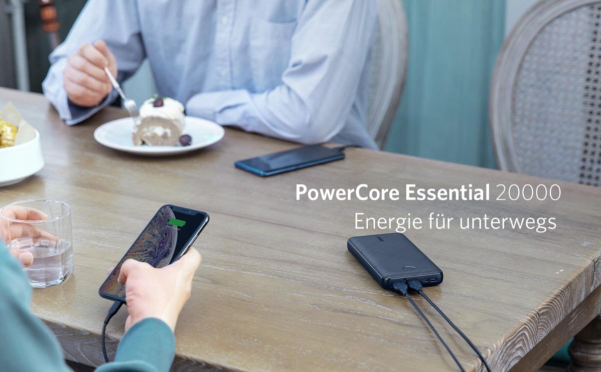 Anker PowerCore Essential 20000 Powerbank für nur 30€ bei Amazon im Angebot
