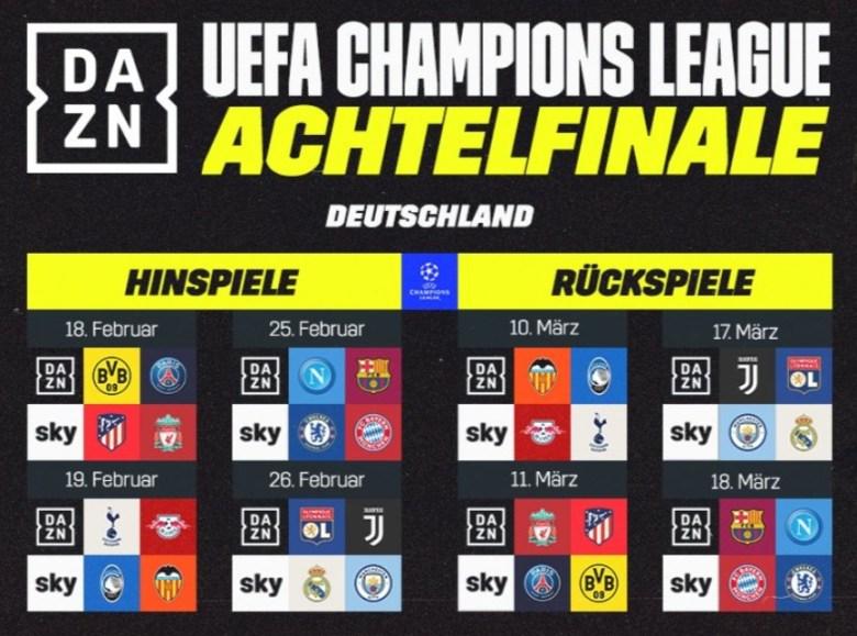 Champions League Achtelfinale 2020 Sky DAZN