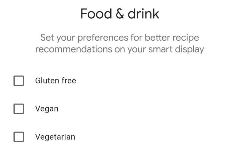 Essen und Trinken Assistant Einstellungen