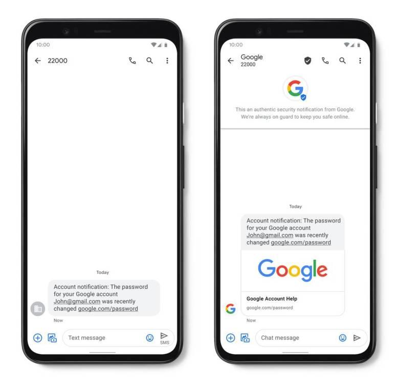 Google Messages verifizierte SMS