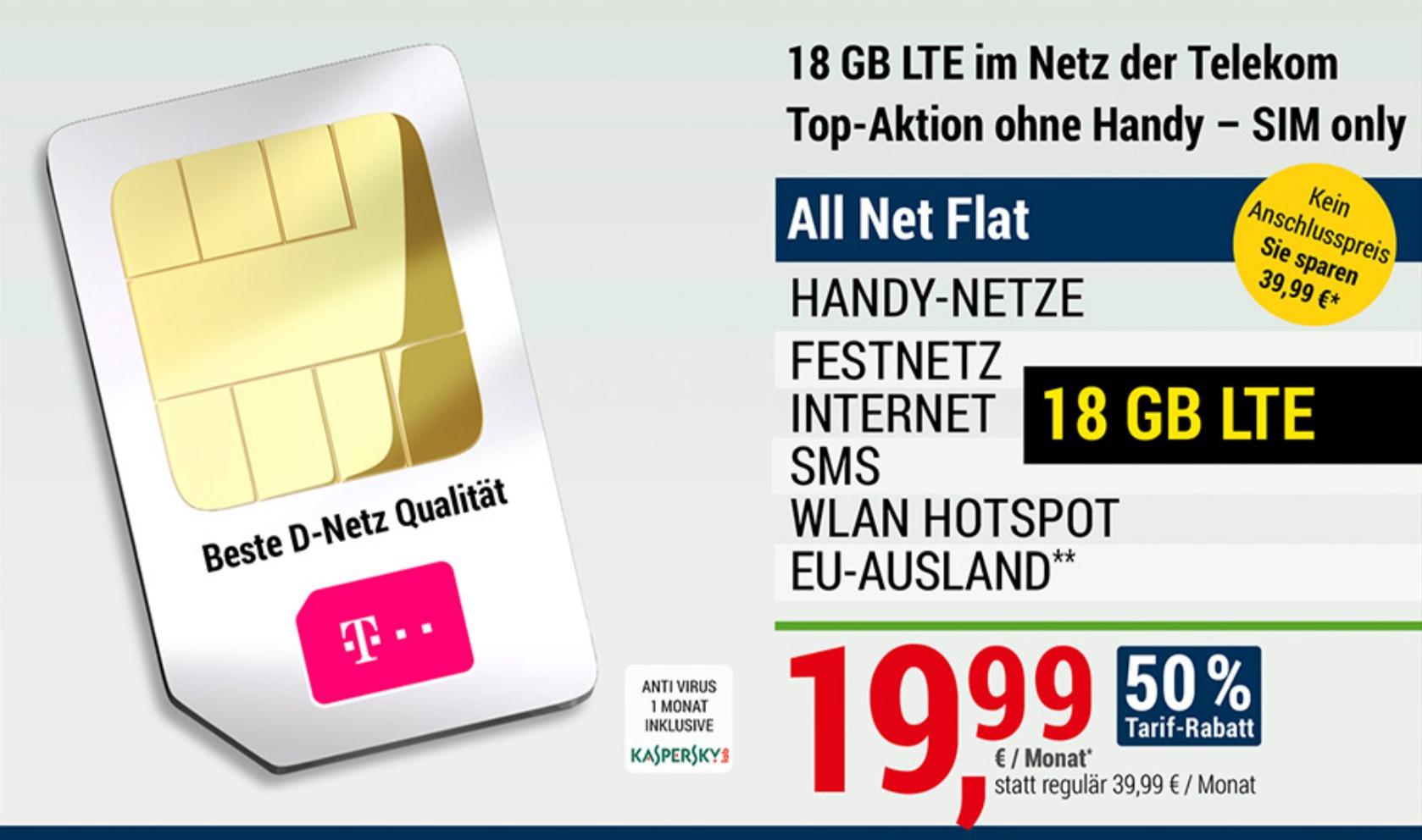 Hammer-Tarifaktion für ADAC-Kunden: Allnet-Flat, 18 GB LTE, Telekom-Netz für 19,99€