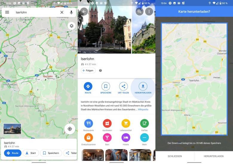 Google Maps Offlinekarten