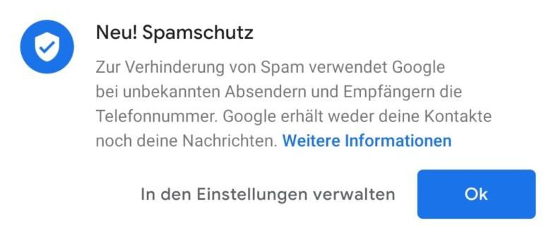 Spamschutz Google Messages Hinweis