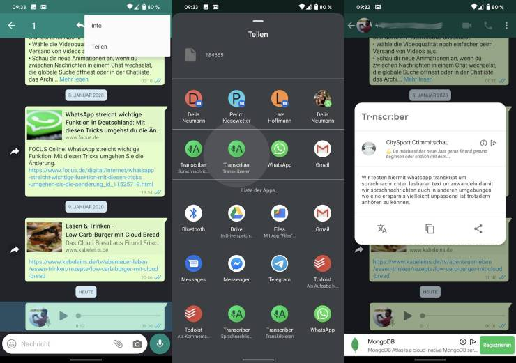 WhatsApp Transcriber App