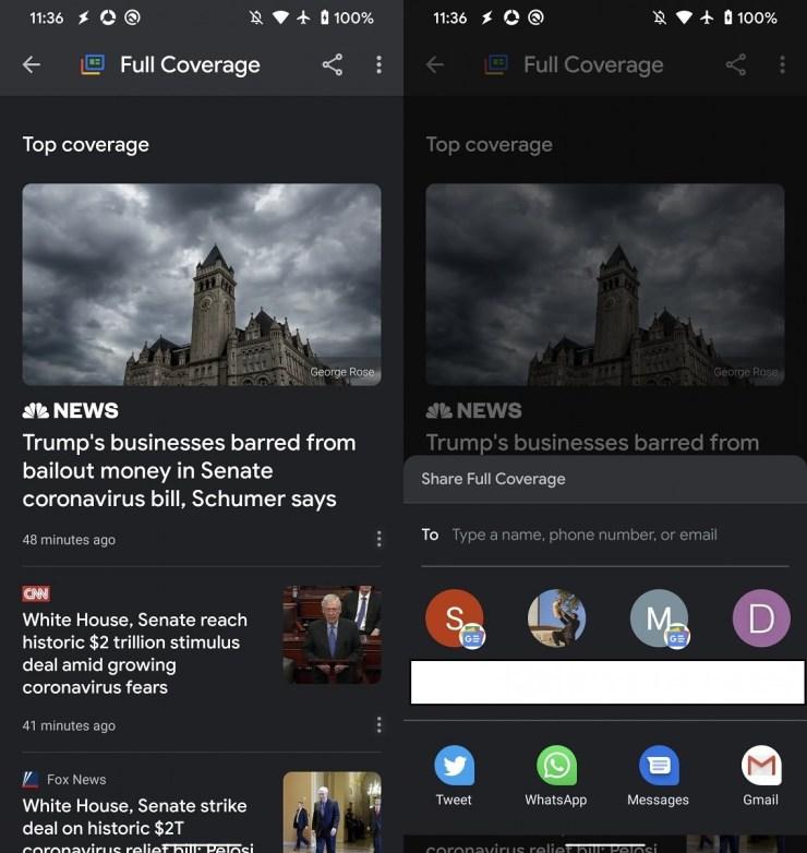 Google News Vollständige Berichterstattung Teilen Screenshot