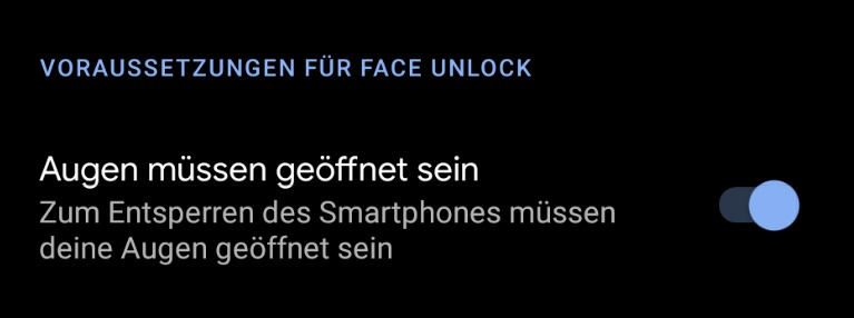 Face Unlock Augen