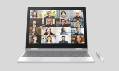 Google Meet Large Video Calls 16 Member Mockup Pixelbook Chromebook Header