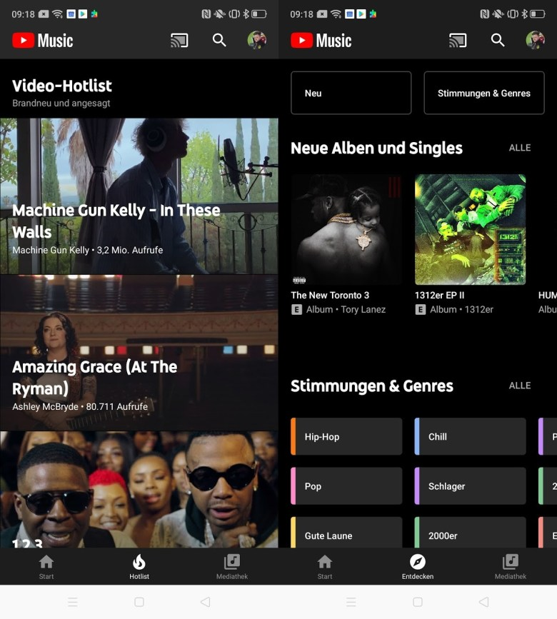 Hotlist Entdecken Tab Youtube Music