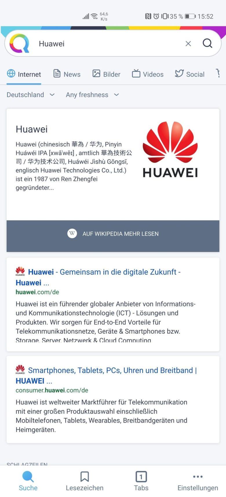 Huawei Qwant Suche