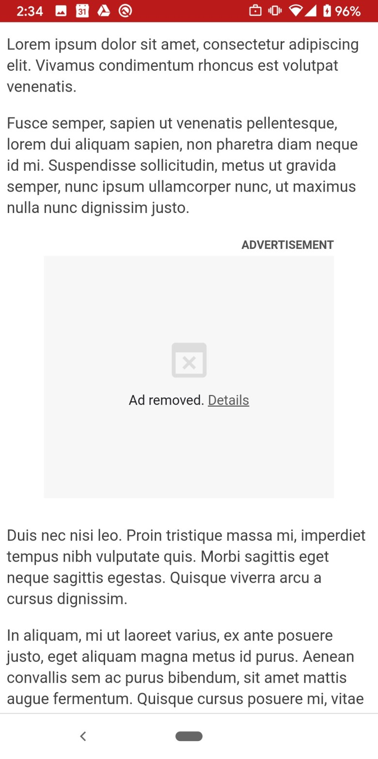 Ad Removed Android Chrome