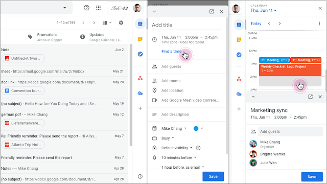 Gmail Google Kalender Edit Dates Side Panel