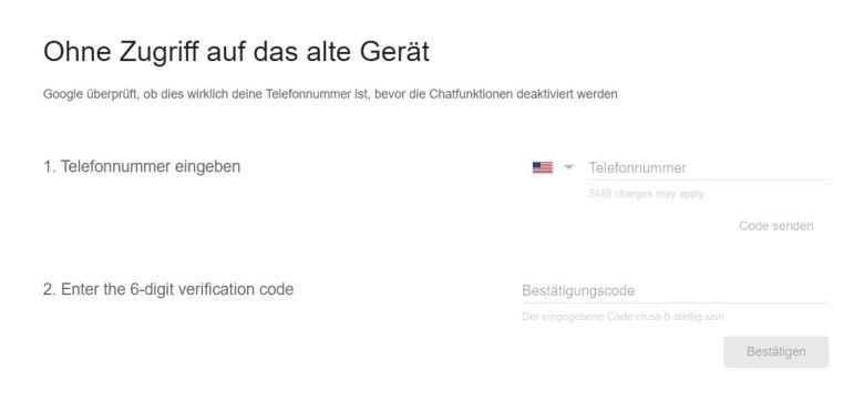 Google Chat Rufnummer Austragen
