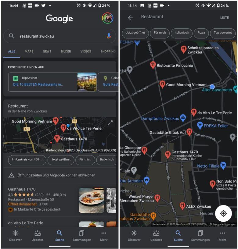 Maps In Suche App Dark Mode Screenshots
