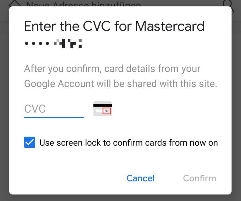 Autofill Prüfnummer Google Pay Kreditkarten