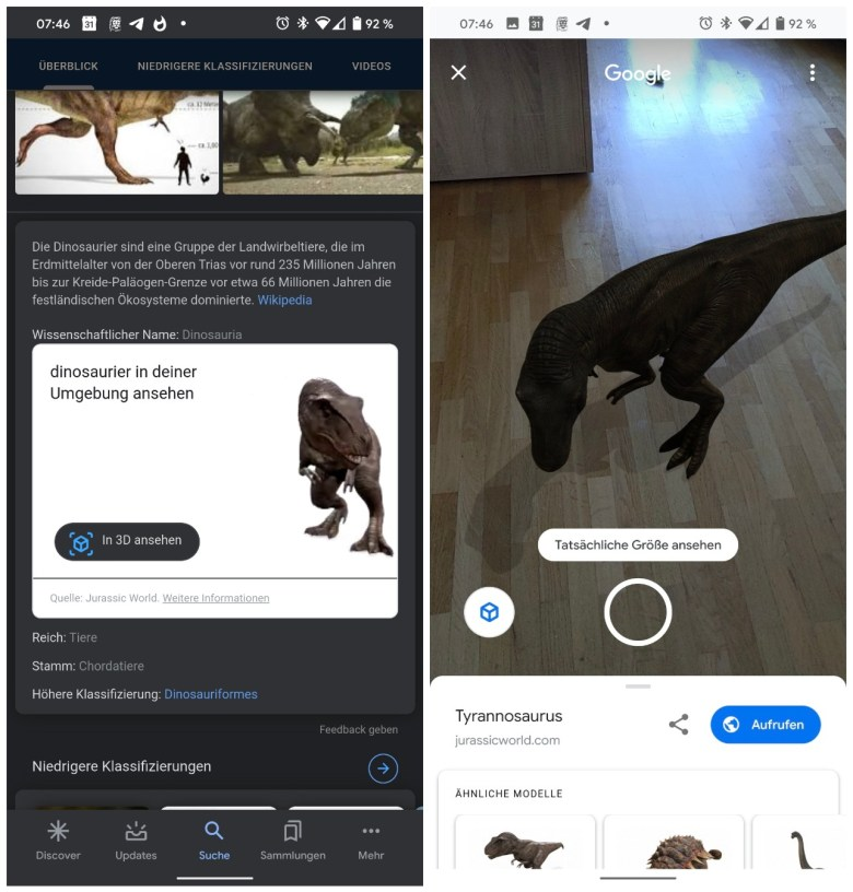 Dinosaurier Ar Google Suche