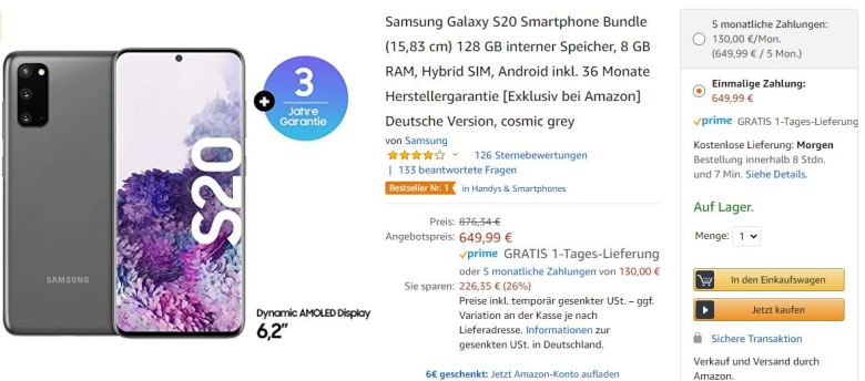 Galaxy S20 Angebot 3 Jahre Garantie Amazon