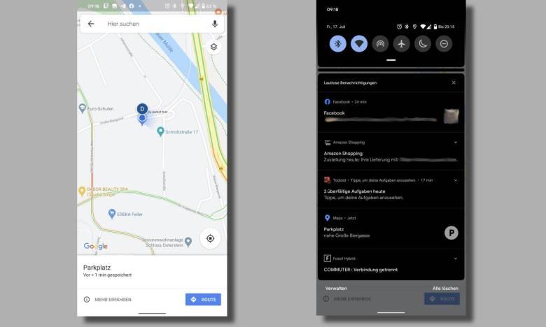 Google Maps Parkplatz Speichern Blaues Menü